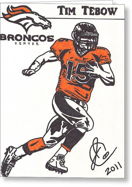 Tim Tebow 1 Greeting Card by Jeremiah Colley