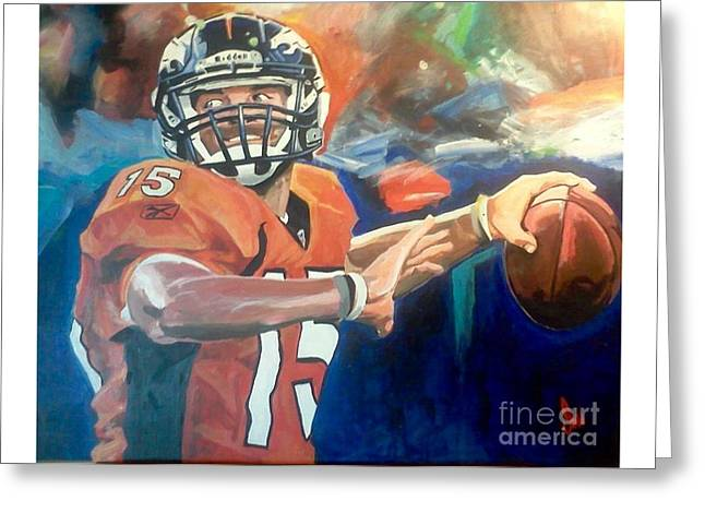 Tim Tebow #2 Greeting Card by Ian Jackson