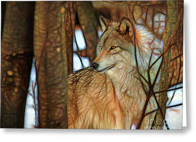 Timber Wolf Colorful Art Greeting Card by Eleanor Abramson