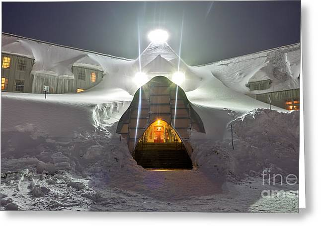 Mt Hood Greeting Cards - Timberline Lodge Entry Mt Hood Snowdrifts Greeting Card by Dustin K Ryan