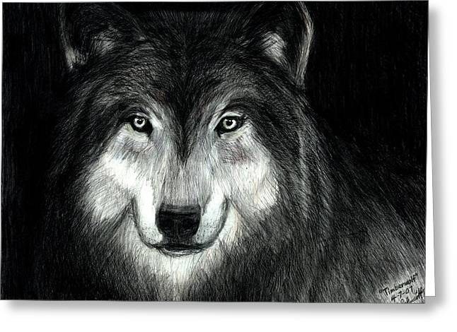 Timberwolf Greeting Card by Bob Schmidt