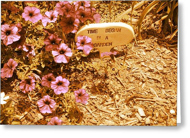 Time Began In A Garden Greeting Card