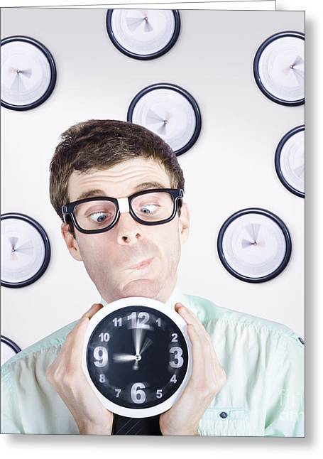 Time Concept Of A Businessman Holding Quick Clock Greeting Card by Jorgo Photography - Wall Art Gallery