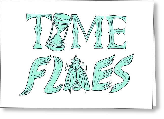 Time Flies Drawing Greeting Card
