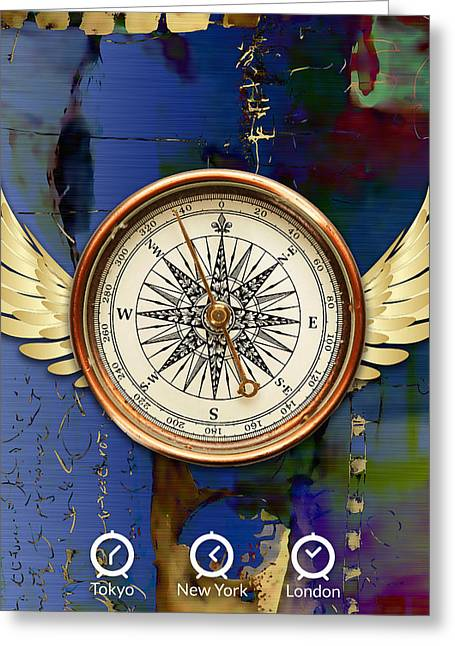 Greeting Card featuring the mixed media Time Flies by Marvin Blaine
