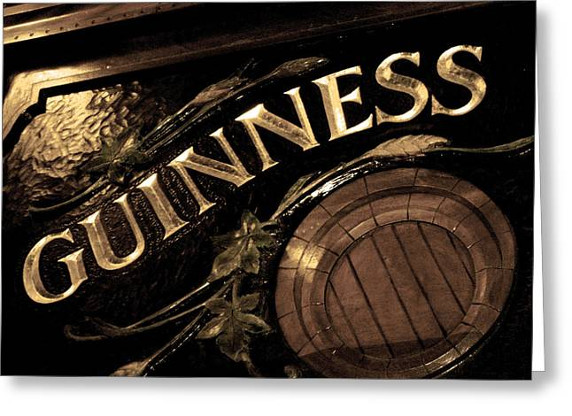 Time For A Guinness Greeting Card by Sheryl Burns