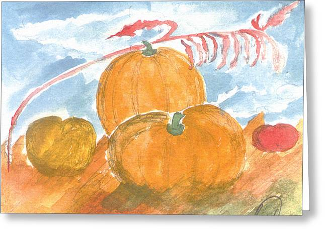 Greeting Card featuring the painting Time For Harvest by Saad Hasnain