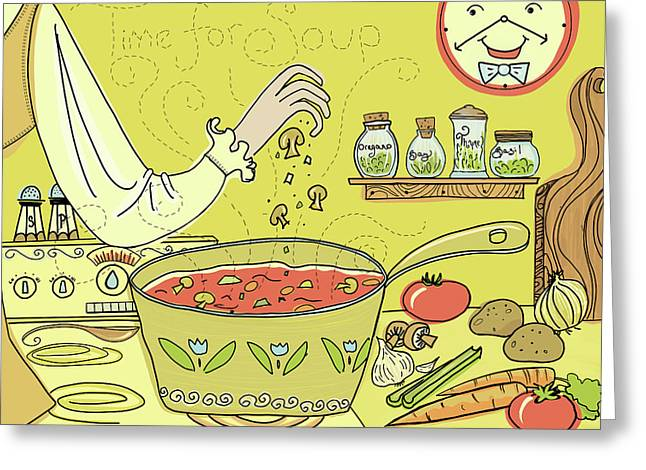 Time For Soup Greeting Card by Little Bunny Sunshine