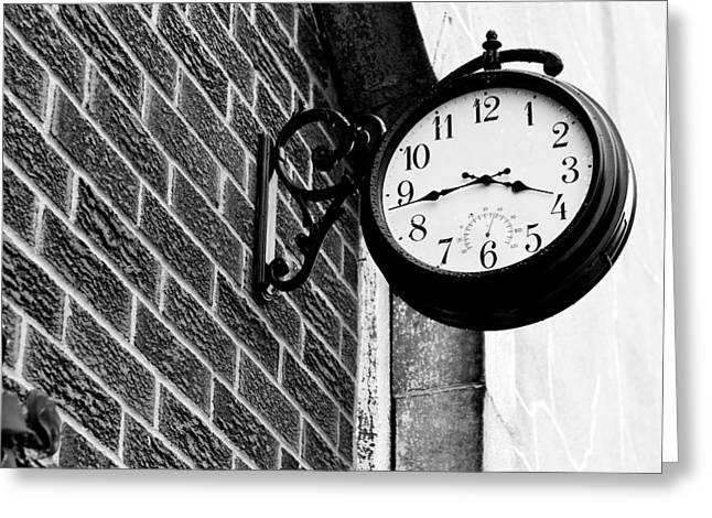 Time In Black And White Greeting Card by Michelle Shockley