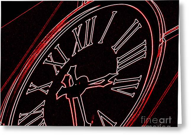 Time In Red And Black Greeting Card