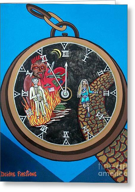 Time Is Running Out And I Am Running Scared Greeting Card by Deidre Firestone