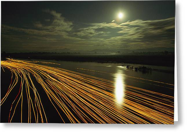Time Lapse Of Lights From Boats Moving Greeting Card