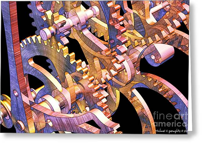 Time Mechanics V1 Greeting Card by Michael Geraghty