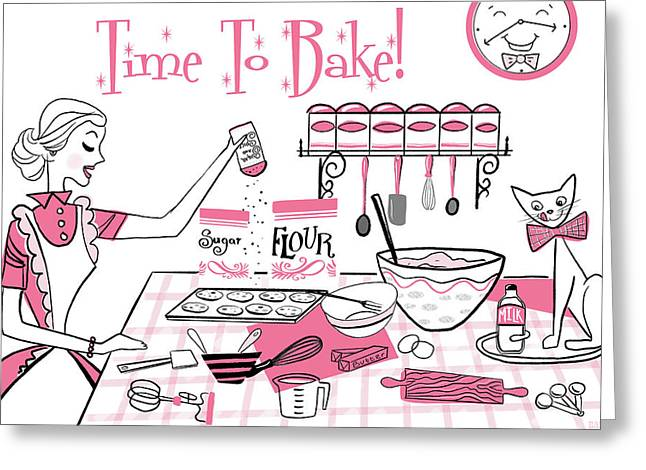 Time To Bake Greeting Card by Little Bunny Sunshine