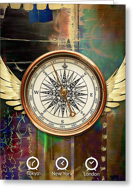 Greeting Card featuring the mixed media Time To Fly by Marvin Blaine