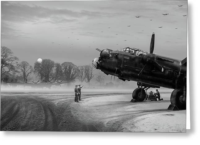 Time To Go - Lancasters On Dispersal Bw Version Greeting Card by Gary Eason