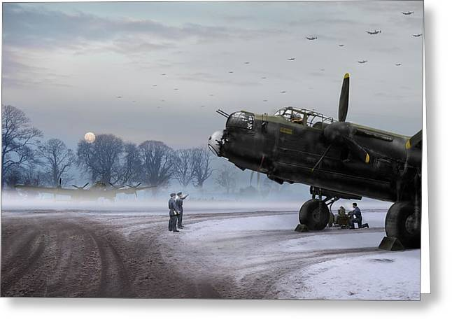 Time To Go - Lancasters On Dispersal Greeting Card by Gary Eason