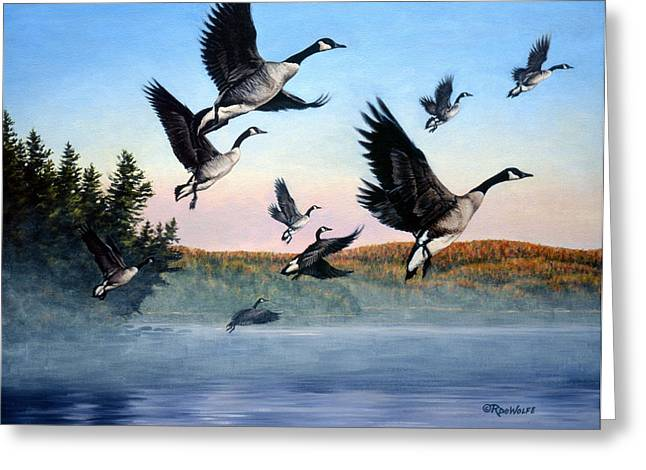 Time To Go Greeting Card by Richard De Wolfe