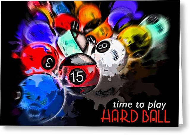 Time To Play Hard Ball Black Greeting Card