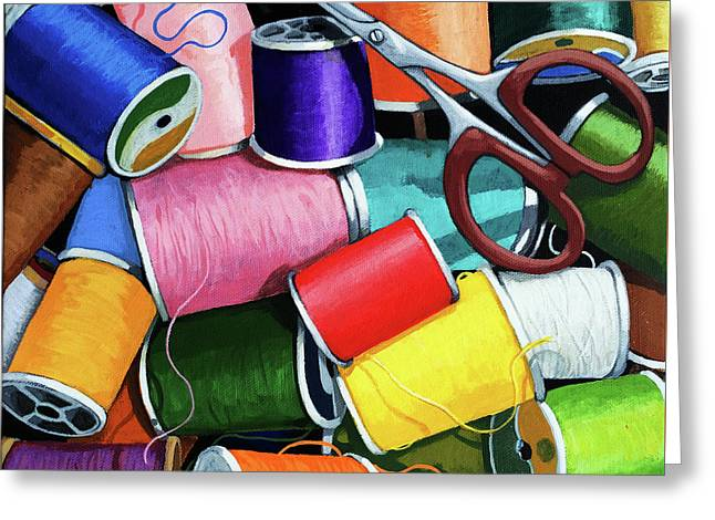 Greeting Card featuring the painting Time To Sew - Colorful Threads by Linda Apple