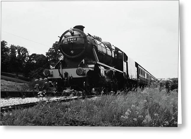Time Travel By Steam B/w Greeting Card by Martin Howard