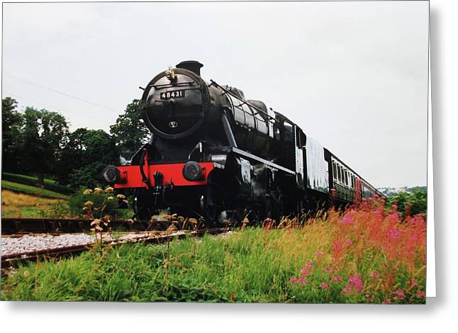 Time Travel By Steam Greeting Card by Martin Howard