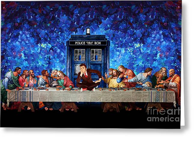 Time Traveller Lost In The Last Supper Greeting Card