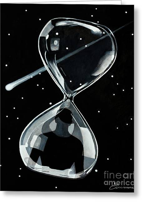 Time Traveller Through The Wormhole Of An Hourglass Greeting Card