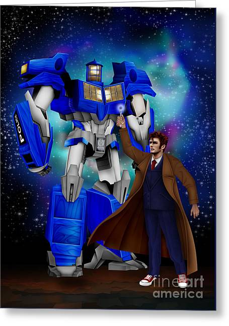 Time Traveller With Giant Robot Greeting Card by Three Second