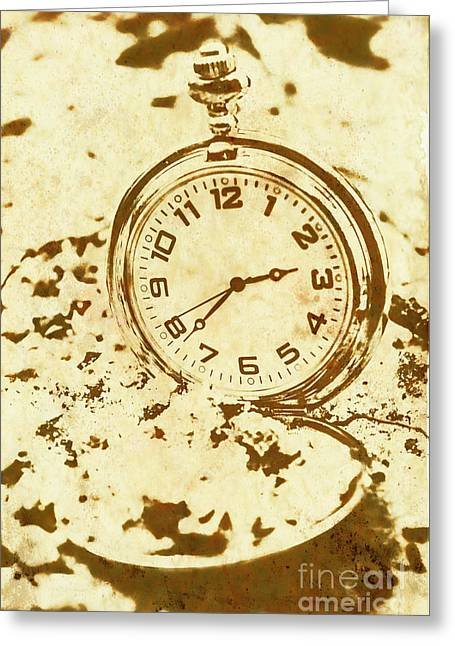 Time Worn Vintage Pocket Watch Greeting Card by Jorgo Photography - Wall Art Gallery