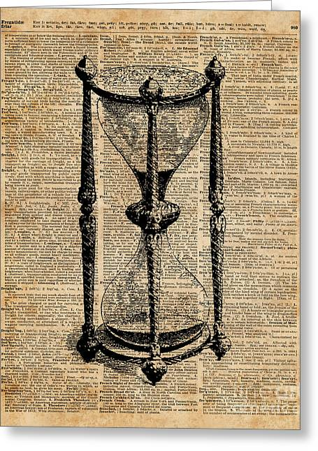 Time,antique Hourglass,sandglas Vintage Dictionary Art Greeting Card by Jacob Kuch