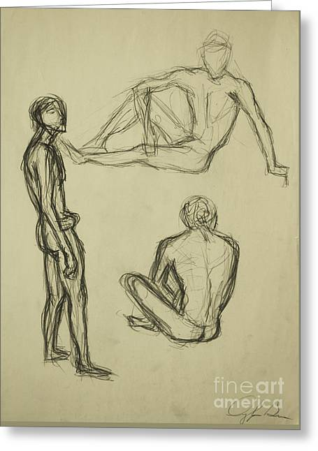 Greeting Card featuring the drawing Timed Gestures Exercise by Angelique Bowman
