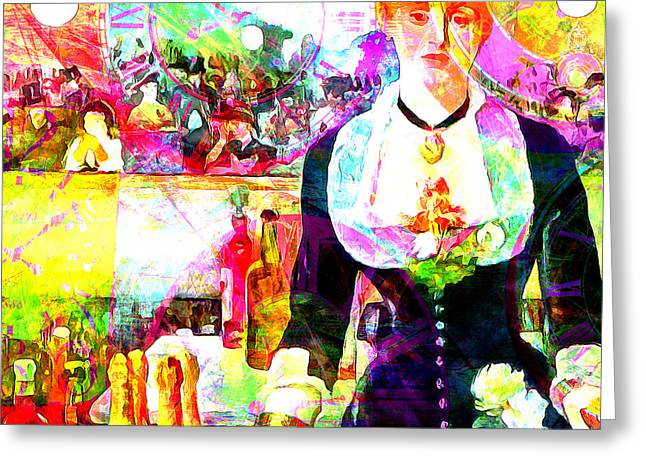 Timeless Art A Bar At The Den Folies Bergere 20160228 Square Greeting Card by Wingsdomain Art and Photography