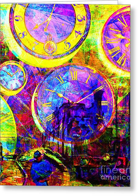 Timeless Art St Lazare Train Station Paris 20160228 Vertical Greeting Card by Wingsdomain Art and Photography