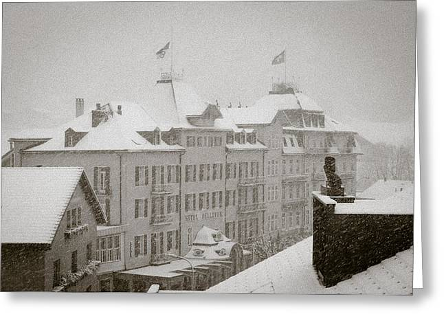 Timeless Engelberg Snow Storm In Historic Centre Of Engelberg Switzerland Greeting Card by Andy Smy