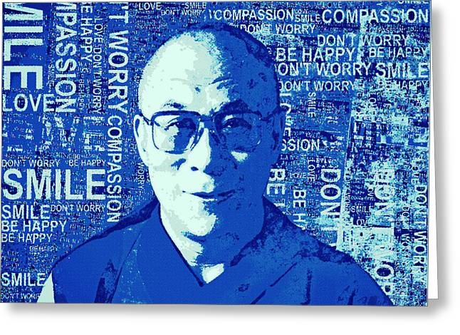 Timeless Wisdom - Retro Pop Art, Blue Greeting Card by Stacey Chiew