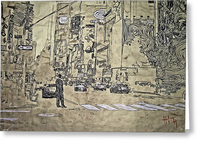 Times Square Pastels Greeting Cards - Times Square - That Man Greeting Card by Jacob  Hitt