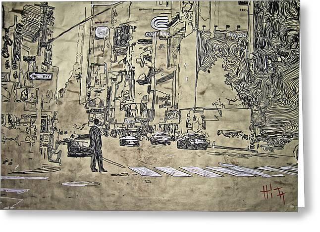 Times Square - That Man Greeting Card by Jacob  Hitt