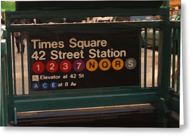 Times Square 42 St Station Greeting Card by Afterdarkness