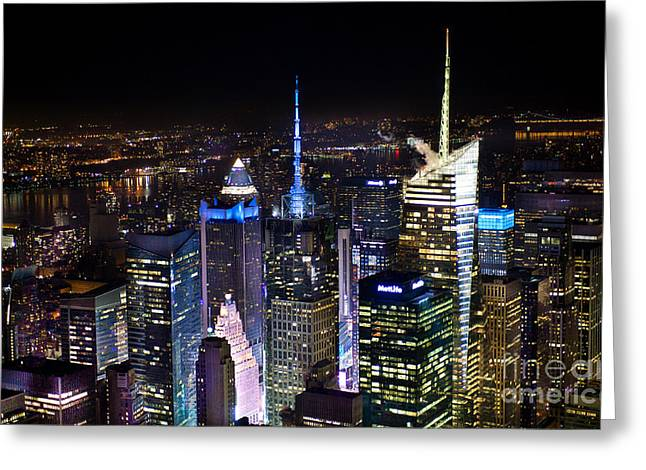 Times Square After Dark Greeting Card by Ken Andersen