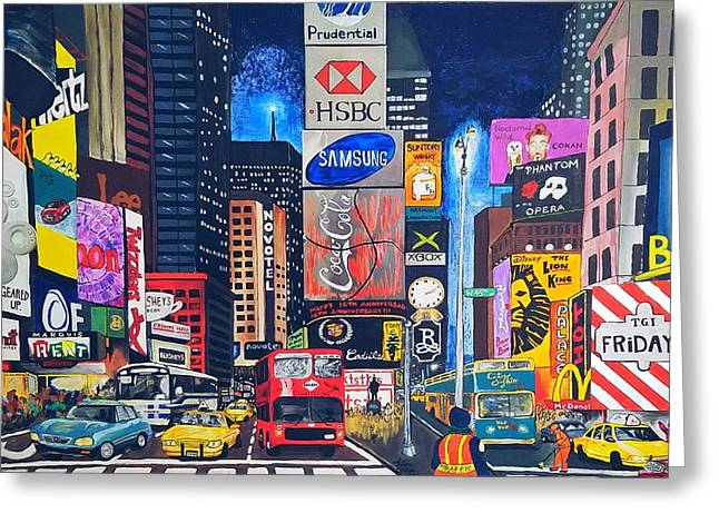 Times Square Greeting Card by Autumn Leaves Art