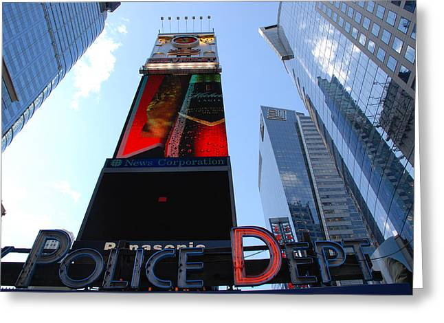 Times Square Cops Greeting Card by Rob Hans