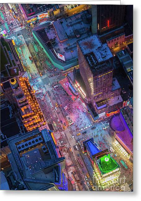 Times Square From Above Greeting Card by Inge Johnsson