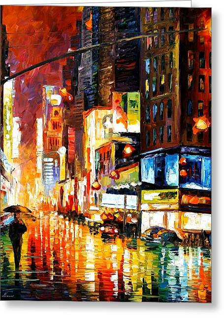 Times Square Greeting Card by Leonid Afremov