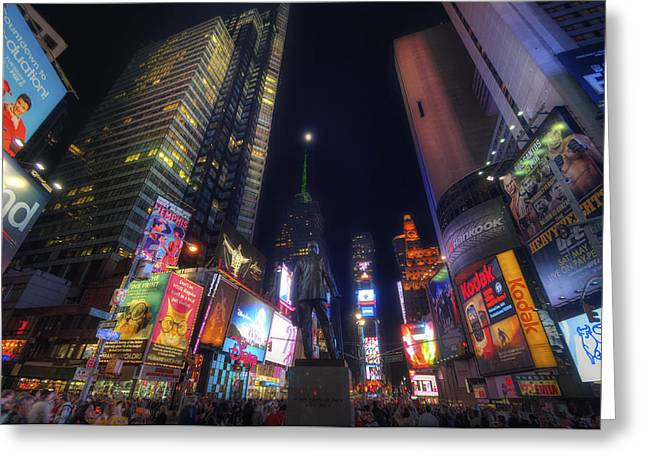 Apple Art Greeting Cards - Times Square Moonlight Greeting Card by Yhun Suarez
