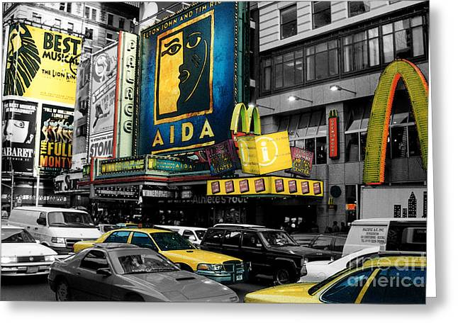 Times Square Nyc Greeting Card by Guy Harnett