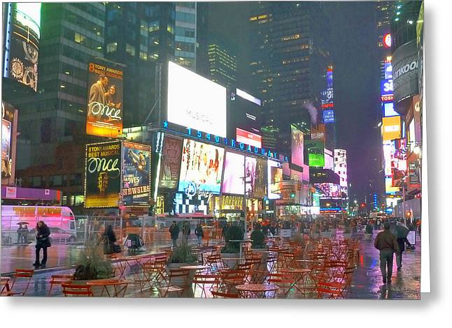 Times Square Red Rain Greeting Card