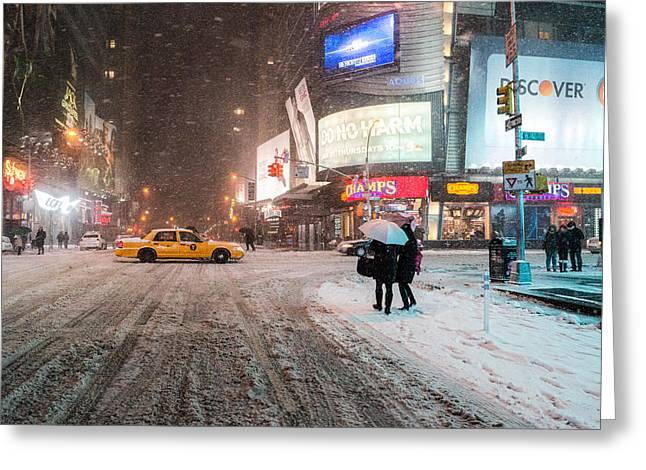 Times Square Snow - Winter In New York City Greeting Card by Vivienne Gucwa