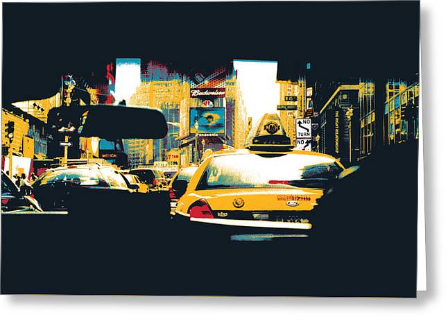 Times Square Taxi Cab Greeting Card
