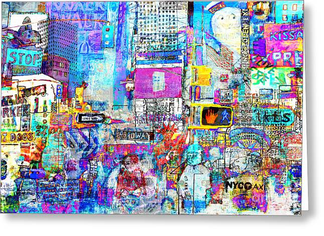 Times Square V Greeting Card